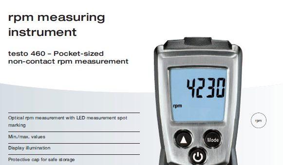 Testo RPM Measuring Instrument (Tachometer)